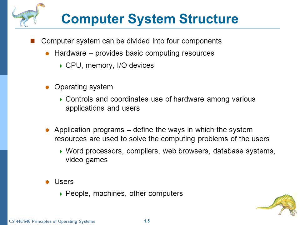 1.5 CS 446/646 Principles of Operating Systems Computer System Structure Computer system can be divided into four components Hardware – provides basic computing resources  CPU, memory, I/O devices Operating system  Controls and coordinates use of hardware among various applications and users Application programs – define the ways in which the system resources are used to solve the computing problems of the users  Word processors, compilers, web browsers, database systems, video games Users  People, machines, other computers