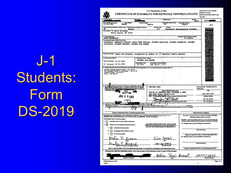 J-1 Students: Form DS-2019