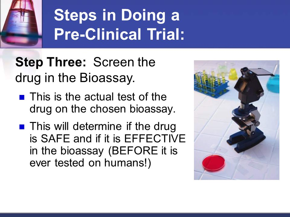 This is the actual test of the drug on the chosen bioassay.