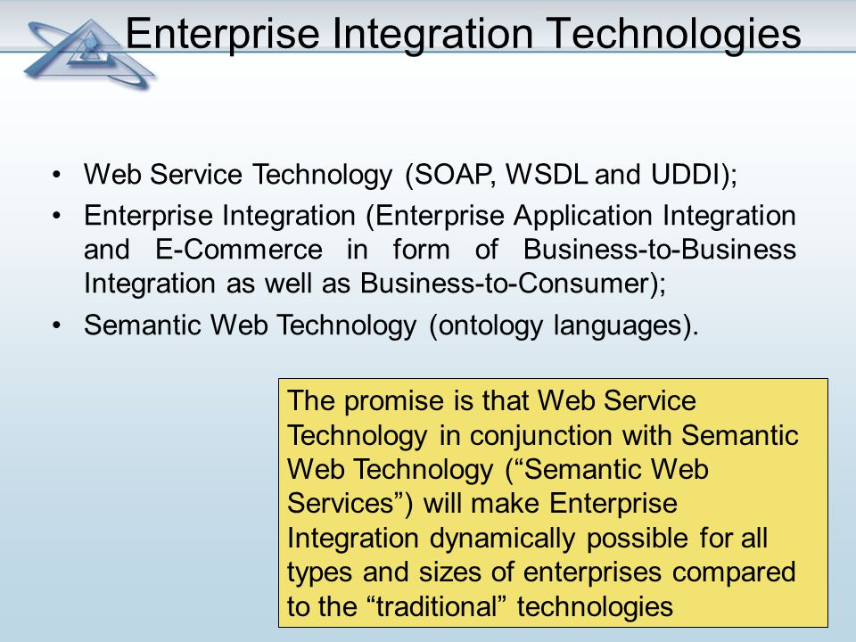 Enterprise Integration Technologies Web Service Technology (SOAP, WSDL and UDDI); Enterprise Integration (Enterprise Application Integration and E-Commerce in form of Business-to-Business Integration as well as Business-to-Consumer); Semantic Web Technology (ontology languages).