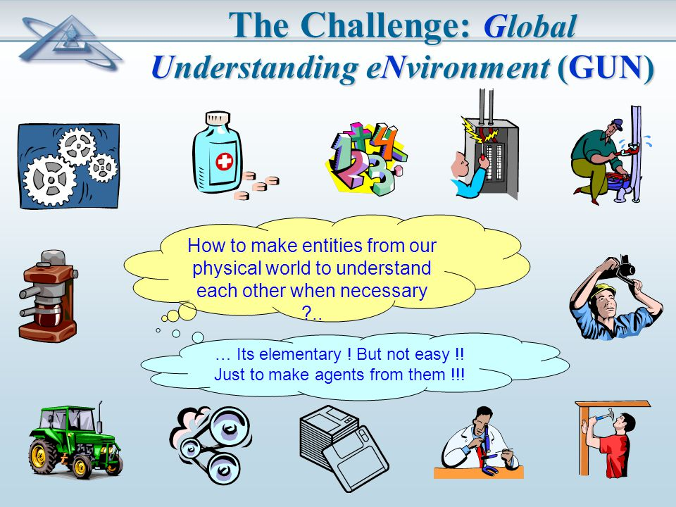 The Challenge: Global Understanding eNvironment (GUN) How to make entities from our physical world to understand each other when necessary ..