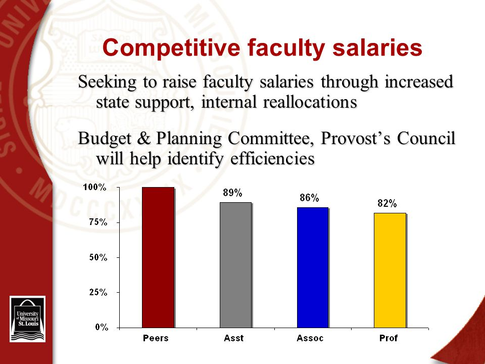 Competitive faculty salaries Seeking to raise faculty salaries through increased state support, internal reallocations Budget & Planning Committee, Provost's Council will help identify efficiencies