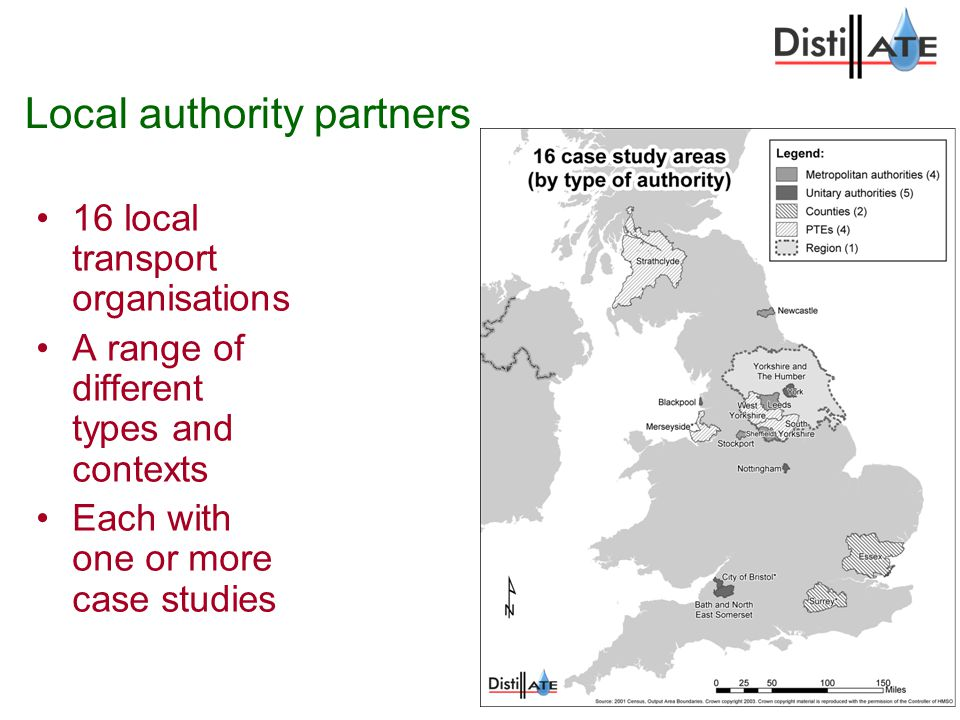 Local authority partners 16 local transport organisations A range of different types and contexts Each with one or more case studies