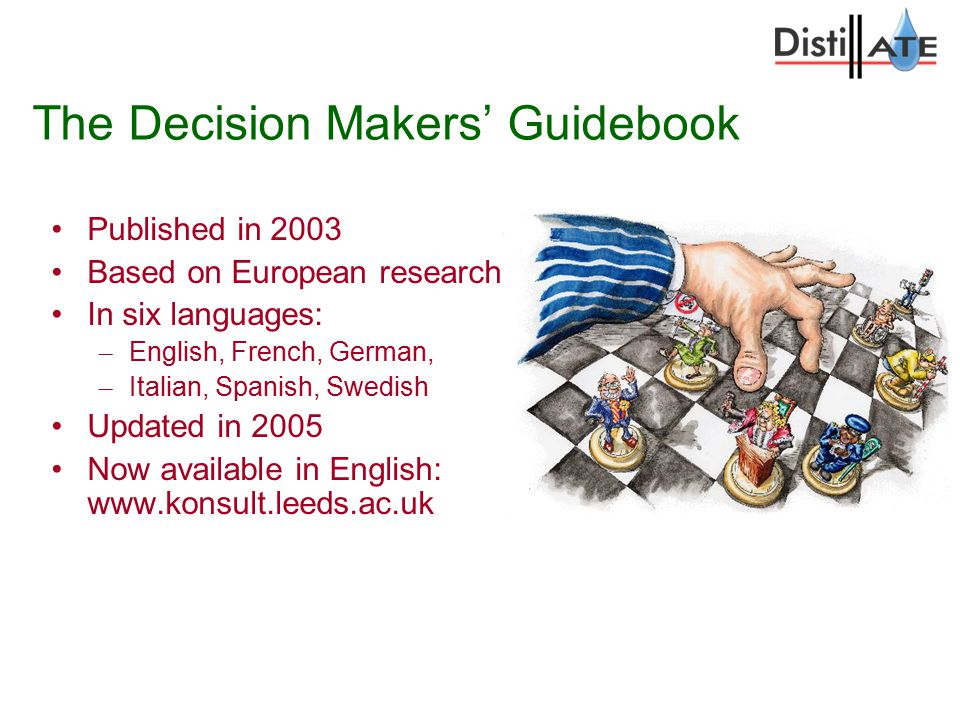 The Decision Makers' Guidebook Published in 2003 Based on European research In six languages: – English, French, German, – Italian, Spanish, Swedish Updated in 2005 Now available in English: