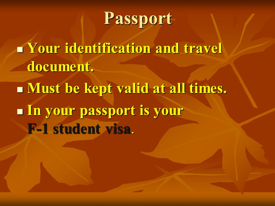Passport Your identification and travel document. Must be kept valid at all times.