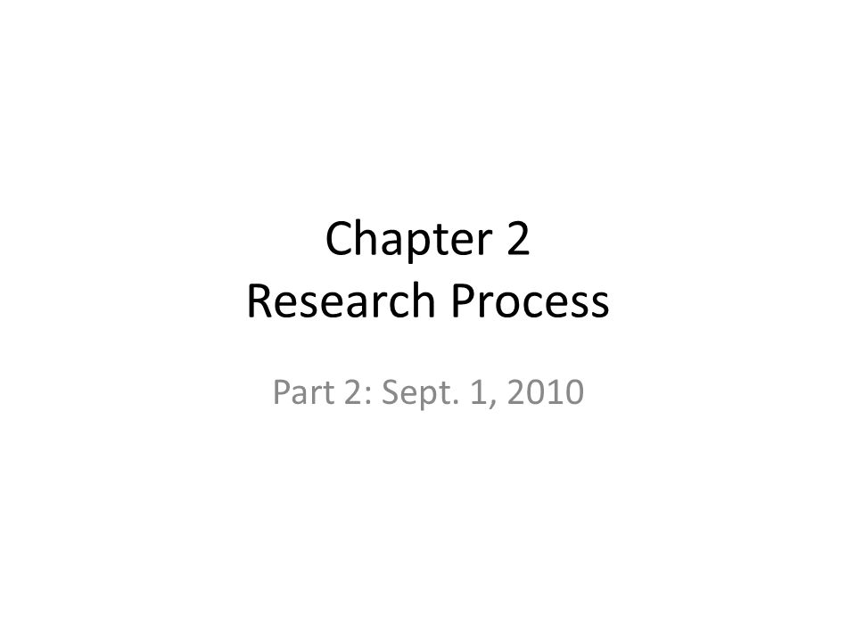 Chapter 2 Research Process Part 2: Sept. 1, 2010