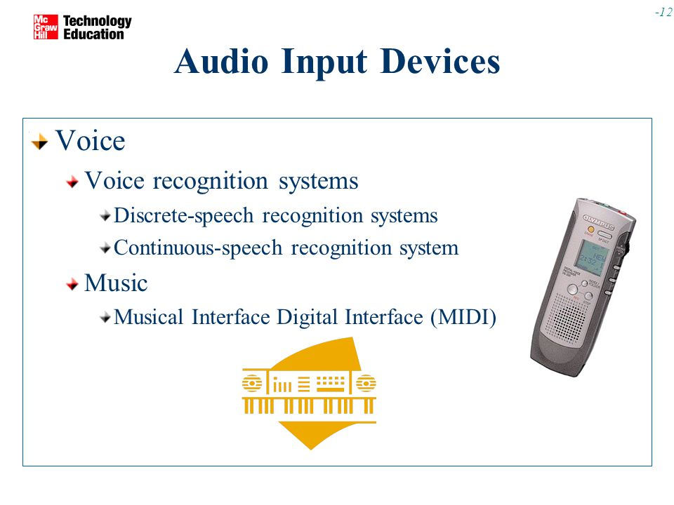 -12 Audio Input Devices Voice Voice recognition systems Discrete-speech recognition systems Continuous-speech recognition system Music Musical Interface Digital Interface (MIDI)