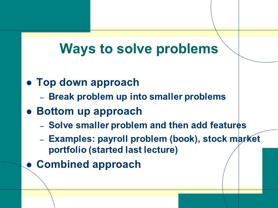 ways to solve a problem