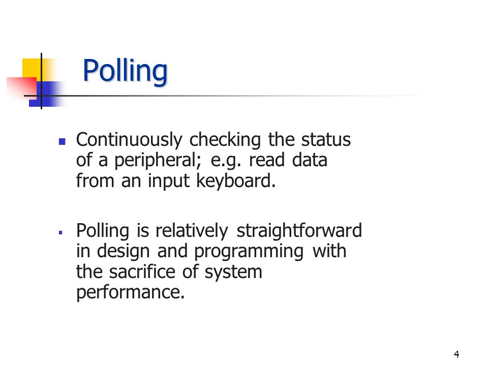 3 Modes of Data Transfer Polling Wait States Interrupts