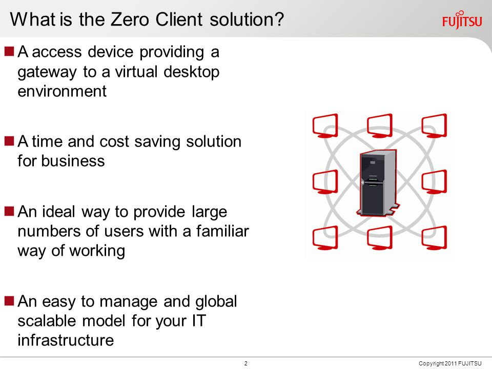 2Copyright 2011 FUJITSU What is the Zero Client solution.