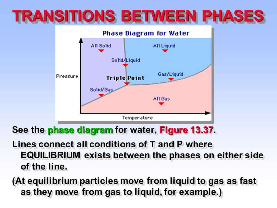 Transitions Between Phases See The Phase Diagram For Water Figure
