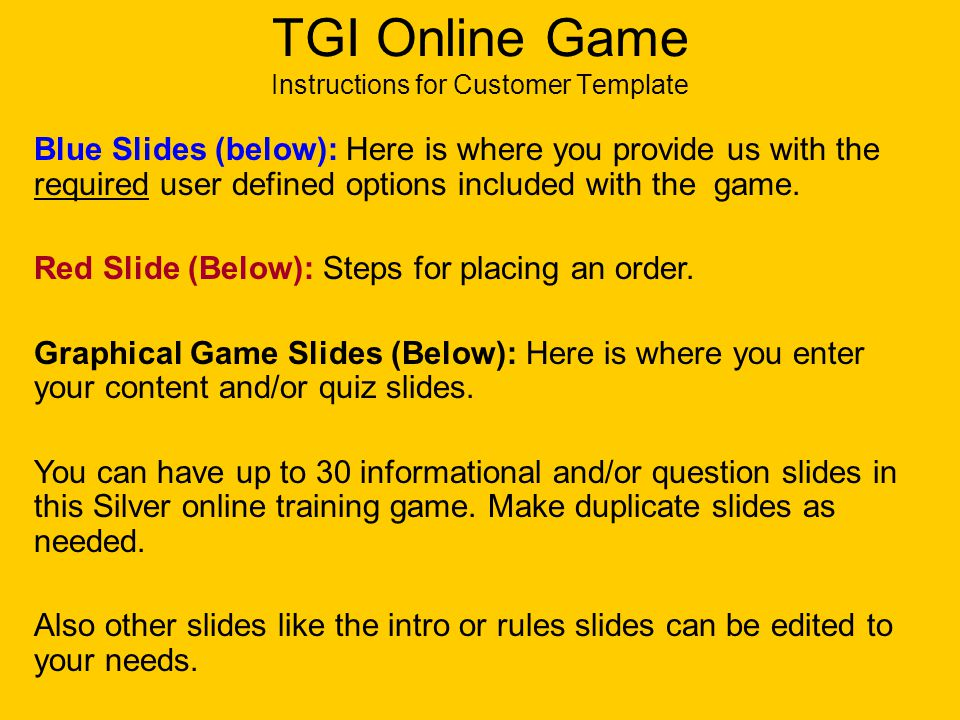 Silver Online Training Game Template Chapters. TGI Online Training ...