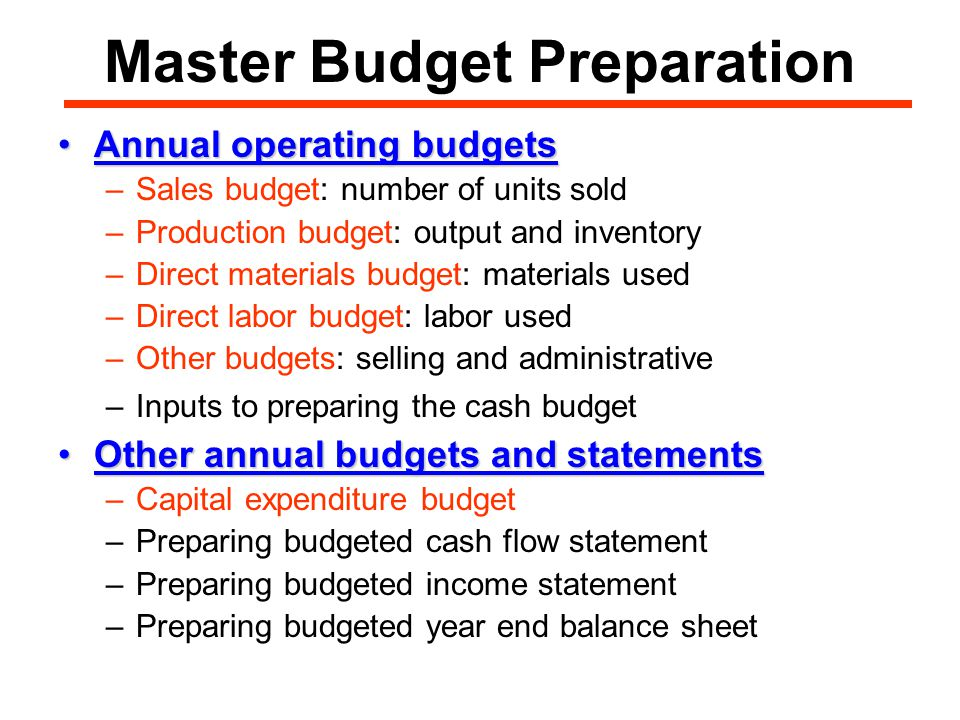 Master Budget Preparation Annual operating budgetsAnnual operating budgets –Sales budget: number of units sold –Production budget: output and inventory –Direct materials budget: materials used –Direct labor budget: labor used –Other budgets: selling and administrative –Inputs to preparing the cash budget Other annual budgets and statementsOther annual budgets and statements –Capital expenditure budget –Preparing budgeted cash flow statement –Preparing budgeted income statement –Preparing budgeted year end balance sheet
