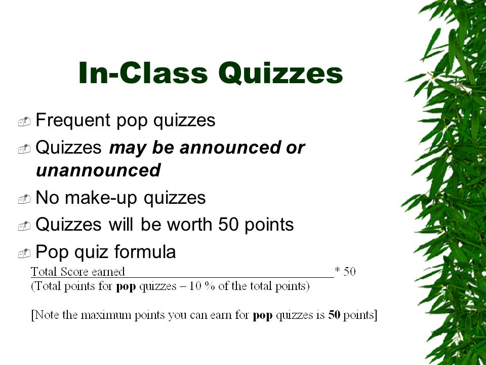 In-Class Quizzes  Frequent pop quizzes  Quizzes may be announced or unannounced  No make-up quizzes  Quizzes will be worth 50 points  Pop quiz formula