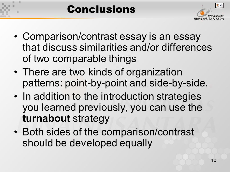 point by point pattern compare and contrast essay A comparison essay (or a compare and contrast  there are two recommended patterns for a comparison essay: point  alternating pattern is also known as point-by.
