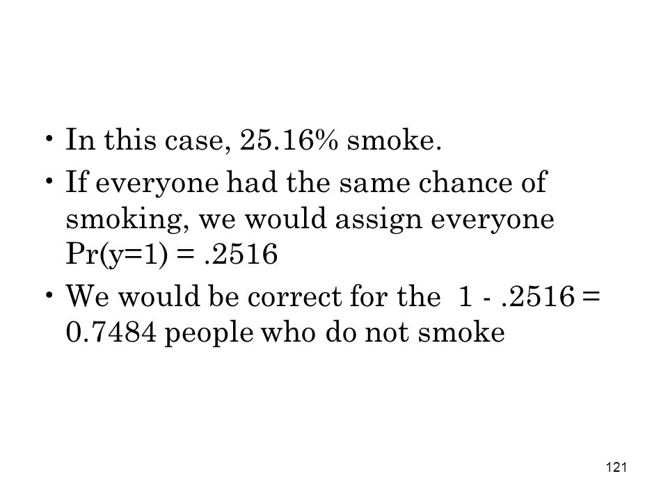 121 In this case, 25.16% smoke.