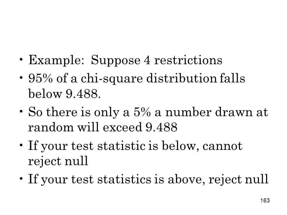 163 Example: Suppose 4 restrictions 95% of a chi-square distribution falls below 9.488.