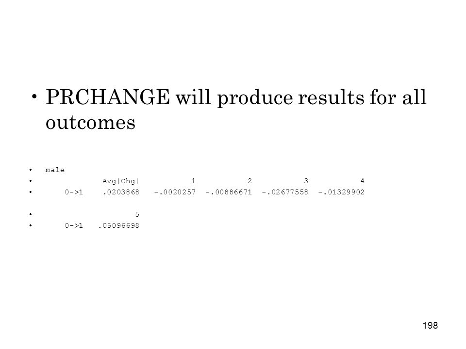198 PRCHANGE will produce results for all outcomes male Avg|Chg| 1 2 3 4 0->1.0203868 -.0020257 -.00886671 -.02677558 -.01329902 5 0->1.05096698