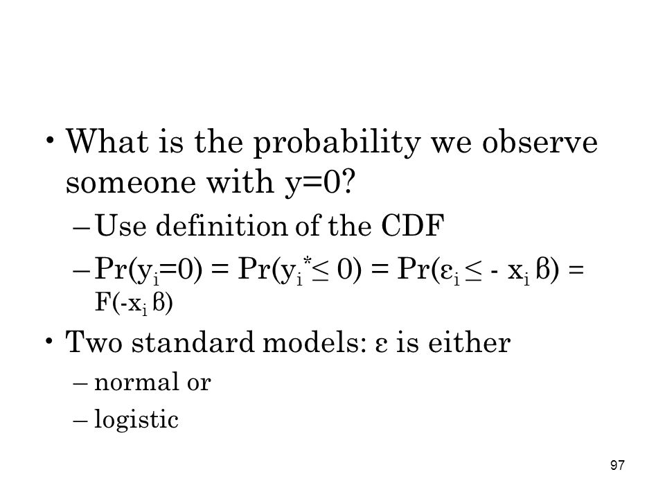 97 What is the probability we observe someone with y=0.