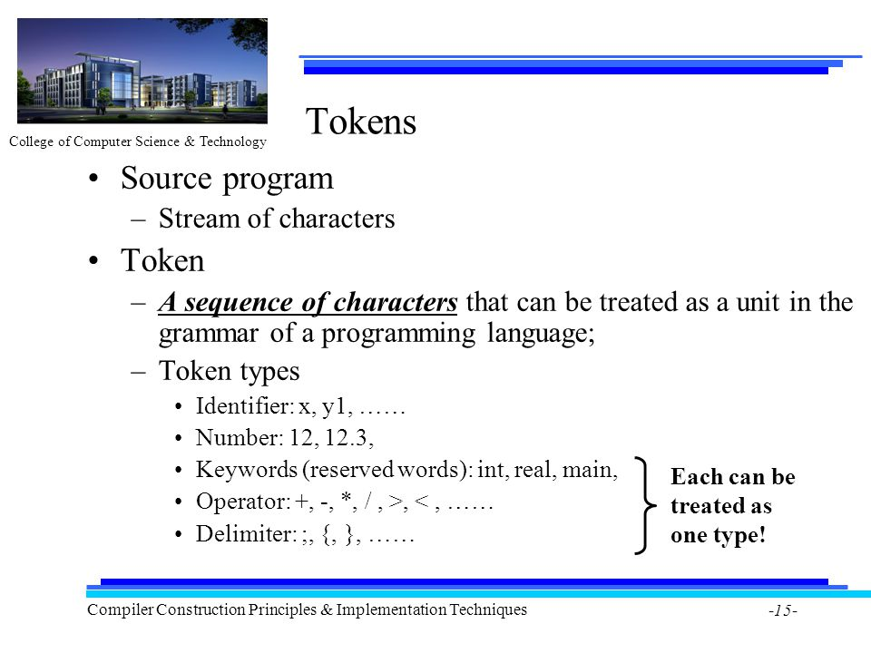 College of Computer Science & Technology Compiler Construction Principles & Implementation Techniques -15- Tokens Source program –Stream of characters Token –A sequence of characters that can be treated as a unit in the grammar of a programming language; –Token types Identifier: x, y1, …… Number: 12, 12.3, Keywords (reserved words): int, real, main, Operator: +, -, *, /, >, <, …… Delimiter: ;, {, }, …… Each can be treated as one type!