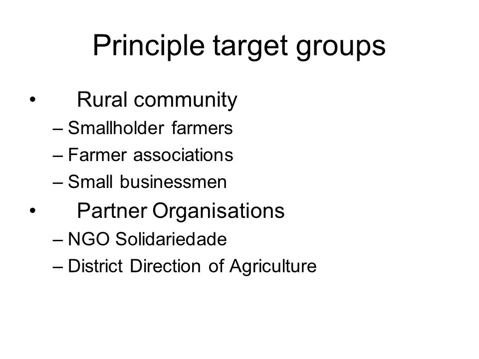 Principle target groups Rural community –Smallholder farmers –Farmer associations –Small businessmen Partner Organisations –NGO Solidariedade –District Direction of Agriculture