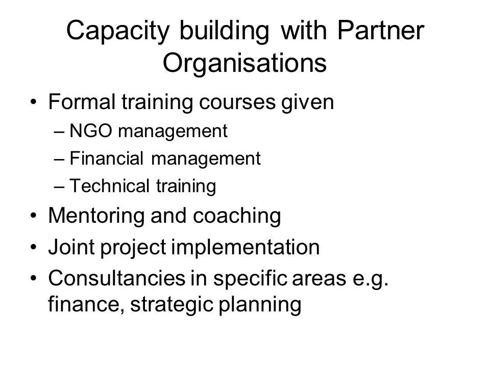 Capacity building with Partner Organisations Formal training courses given –NGO management –Financial management –Technical training Mentoring and coaching Joint project implementation Consultancies in specific areas e.g.