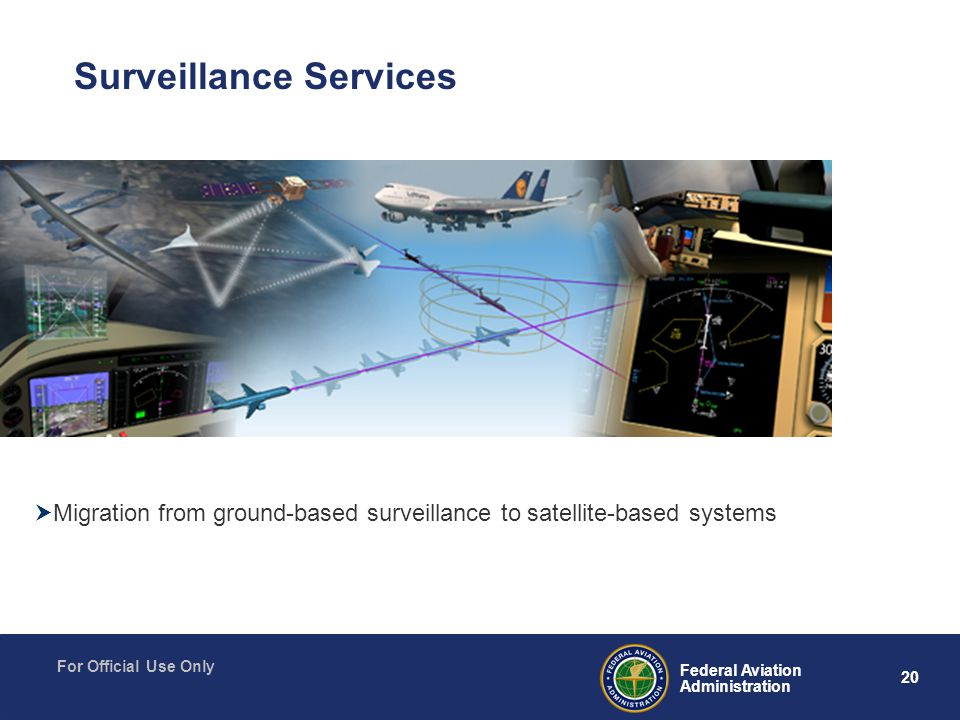 20 Federal Aviation Administration For Official Use Only Surveillance Services  Migration from ground-based surveillance to satellite-based systems