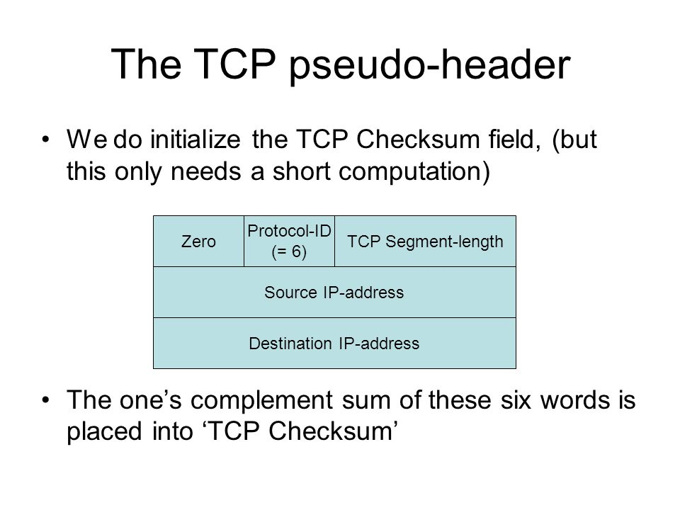 Checksum 'offloading' A look at how the Pro1000 NICs can be
