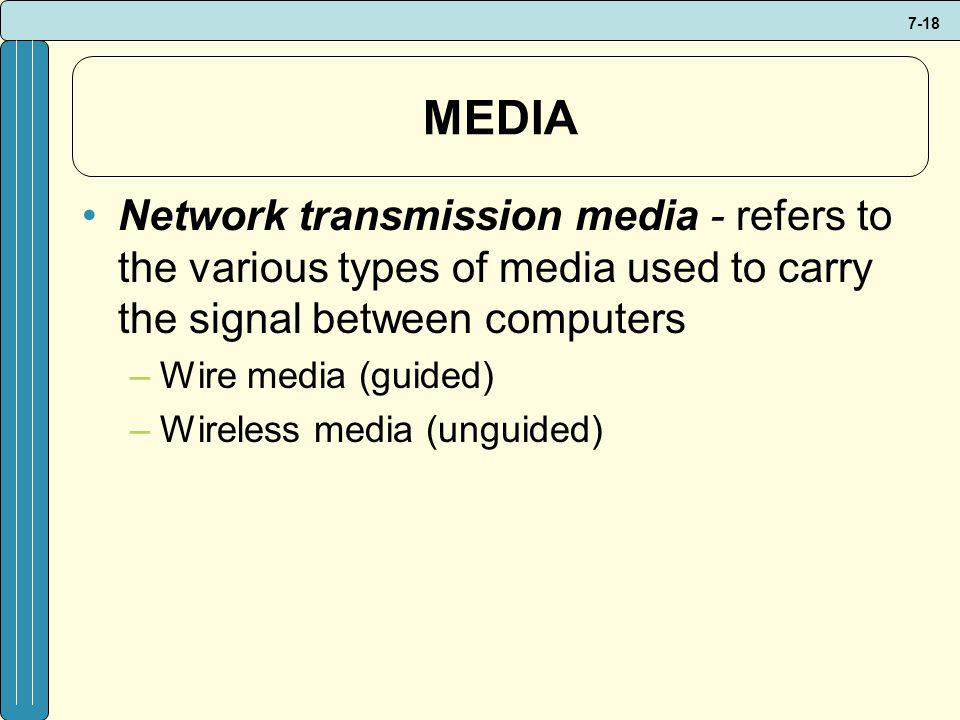 7-18 MEDIA Network transmission media - refers to the various types of media used to carry the signal between computers –Wire media (guided) –Wireless media (unguided)