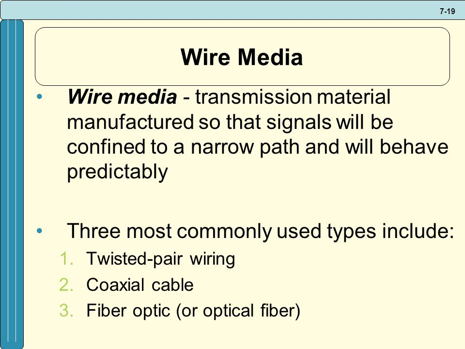 7-19 Wire Media Wire media - transmission material manufactured so that signals will be confined to a narrow path and will behave predictably Three most commonly used types include: 1.Twisted-pair wiring 2.Coaxial cable 3.Fiber optic (or optical fiber)