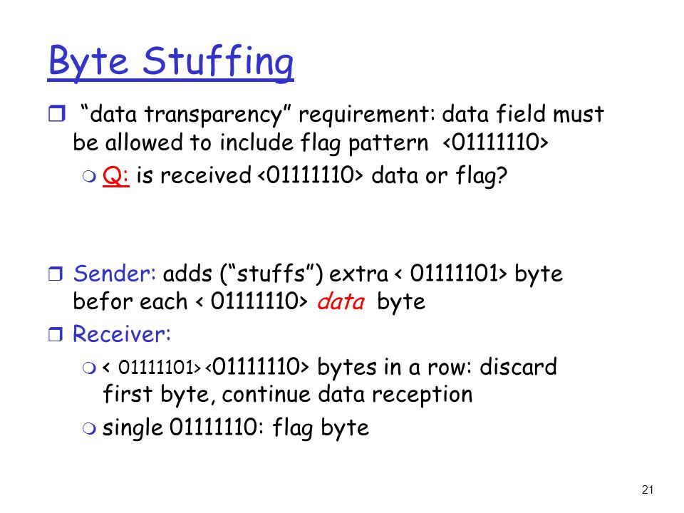 21 Byte Stuffing r data transparency requirement: data field must be allowed to include flag pattern m Q: is received data or flag.