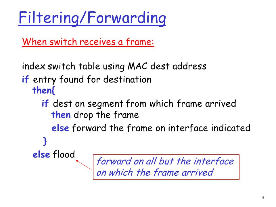 6 Filtering/Forwarding When switch receives a frame: index switch table using MAC dest address if entry found for destination then{ if dest on segment from which frame arrived then drop the frame else forward the frame on interface indicated } else flood forward on all but the interface on which the frame arrived