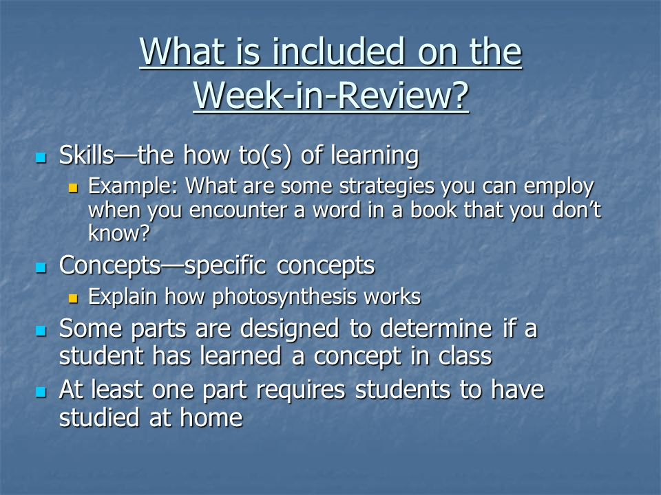 What is included on the Week-in-Review.