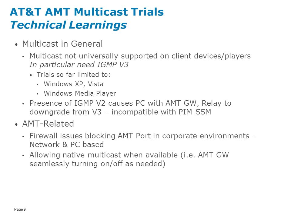 AT&T AMT Multicast Trials Patricia McCrink 11/09/ ppt download