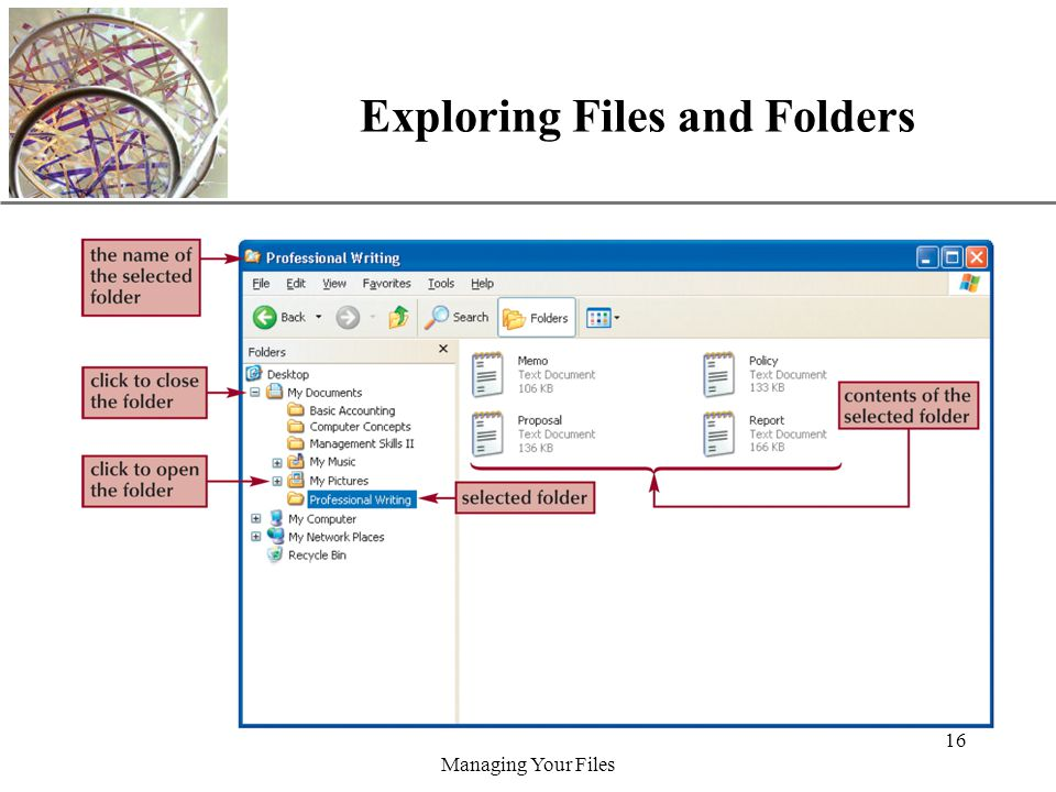 XP Managing Your Files 16 Exploring Files and Folders