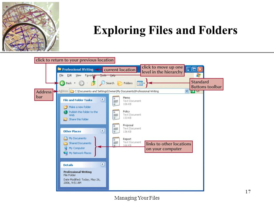 XP Managing Your Files 17 Exploring Files and Folders