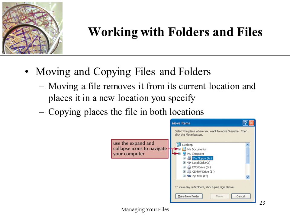 XP Managing Your Files 23 Working with Folders and Files Moving and Copying Files and Folders –Moving a file removes it from its current location and places it in a new location you specify –Copying places the file in both locations