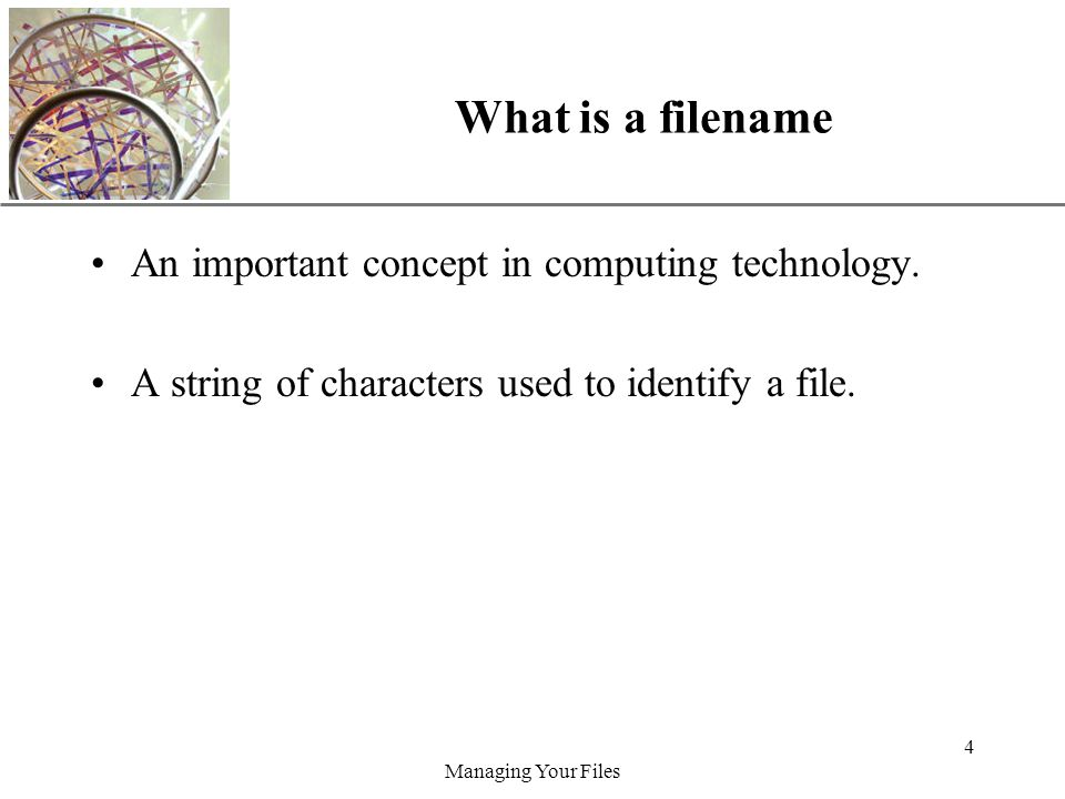 XP Managing Your Files 4 What is a filename An important concept in computing technology.