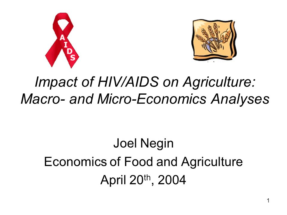 1 Impact of HIV/AIDS on Agriculture: Macro- and Micro-Economics Analyses Joel Negin Economics of Food and Agriculture April 20 th, 2004