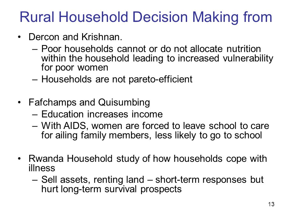 13 Rural Household Decision Making from Dercon and Krishnan.
