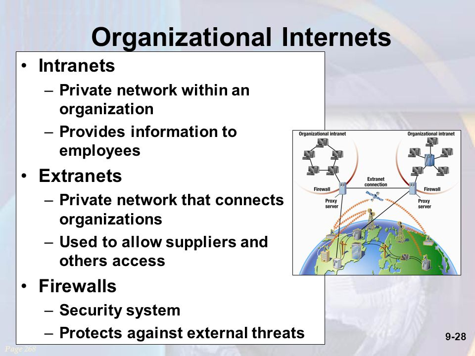 9-28 Organizational Internets Intranets –Private network within an organization –Provides information to employees Extranets –Private network that connects organizations –Used to allow suppliers and others access Firewalls –Security system –Protects against external threats Page 268
