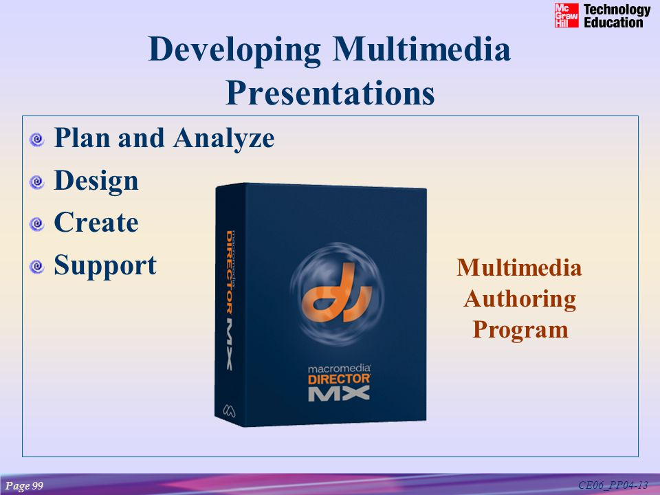 CE06_PP04-13 Developing Multimedia Presentations Plan and Analyze Design Create Support Multimedia Authoring Program Page 99