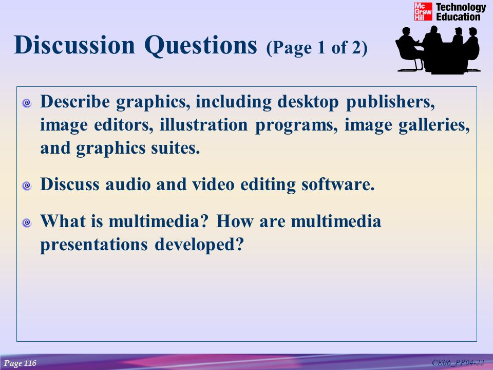 CE06_PP04-22 Describe graphics, including desktop publishers, image editors, illustration programs, image galleries, and graphics suites.