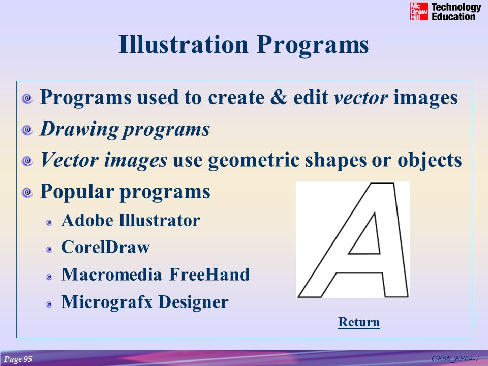 CE06_PP04-7 Illustration Programs Programs used to create & edit vector images Drawing programs Vector images use geometric shapes or objects Popular programs Adobe Illustrator CorelDraw Macromedia FreeHand Micrografx Designer Page 95 Return