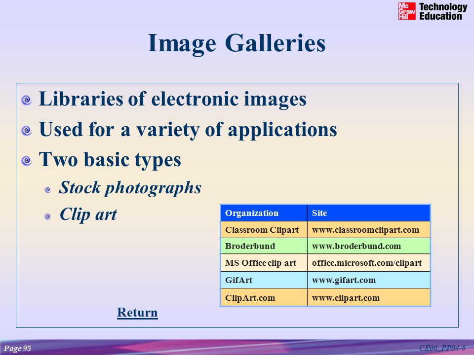 CE06_PP04-8 Image Galleries Libraries of electronic images Used for a variety of applications Two basic types Stock photographs Clip art Page 95 Return OrganizationSite Classroom Clipartwww.classroomclipart.com Broderbundwww.broderbund.com MS Office clip artoffice.microsoft.com/clipart GifArtwww.gifart.com ClipArt.comwww.clipart.com