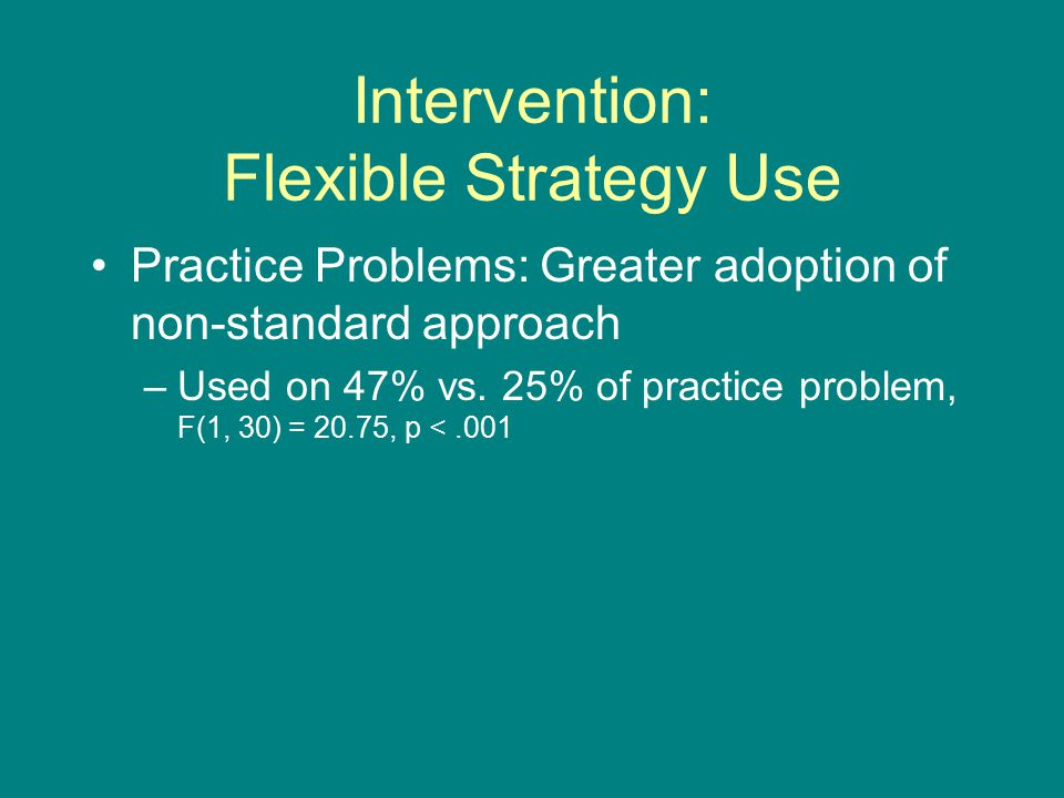 Intervention: Flexible Strategy Use Practice Problems: Greater adoption of non-standard approach –Used on 47% vs.