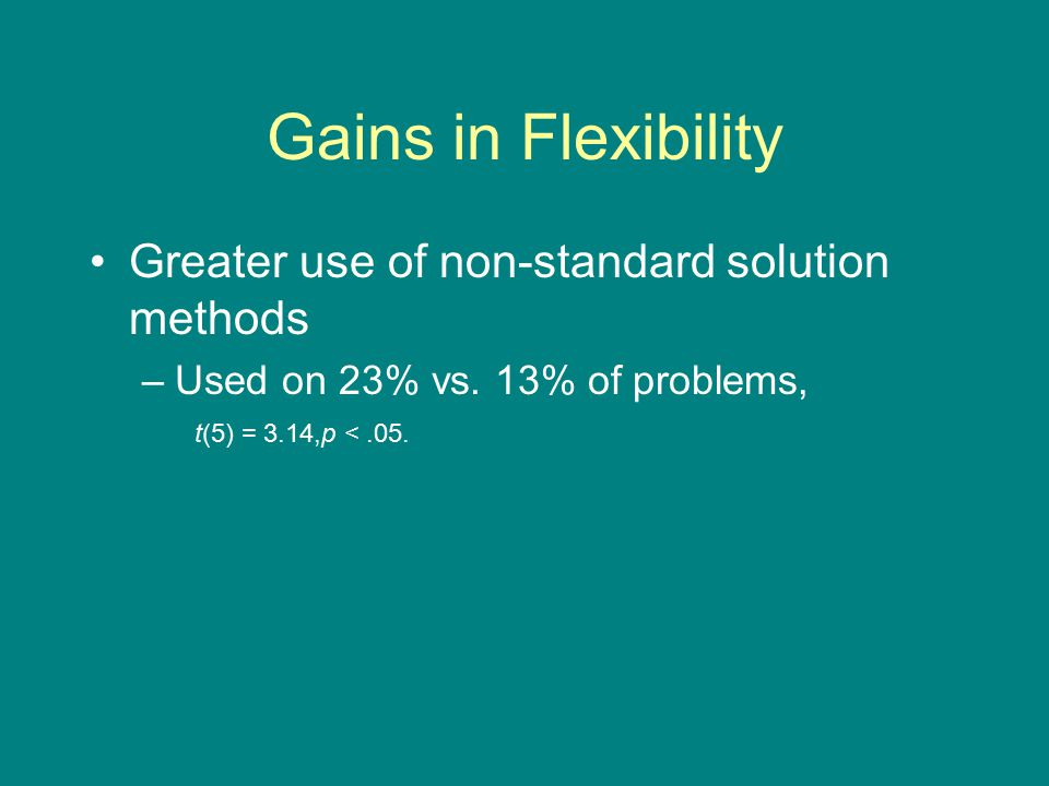 Gains in Flexibility Greater use of non-standard solution methods –Used on 23% vs.