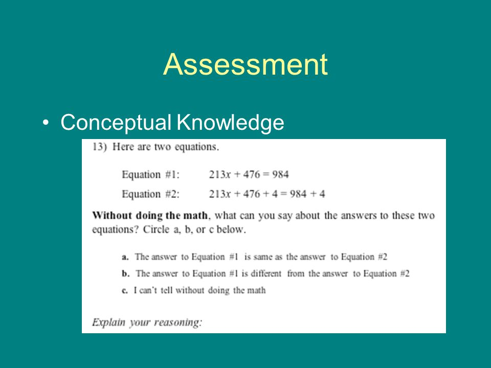 Assessment Conceptual Knowledge