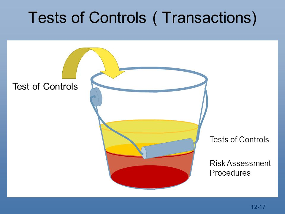 12-17 Tests of Controls ( Transactions) Tests of Controls Risk Assessment Procedures Test of Controls