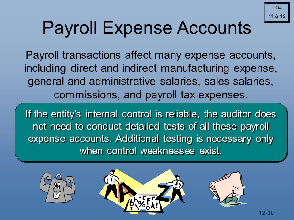 12-30 Payroll Expense Accounts Payroll transactions affect many expense accounts, including direct and indirect manufacturing expense, general and administrative salaries, sales salaries, commissions, and payroll tax expenses.